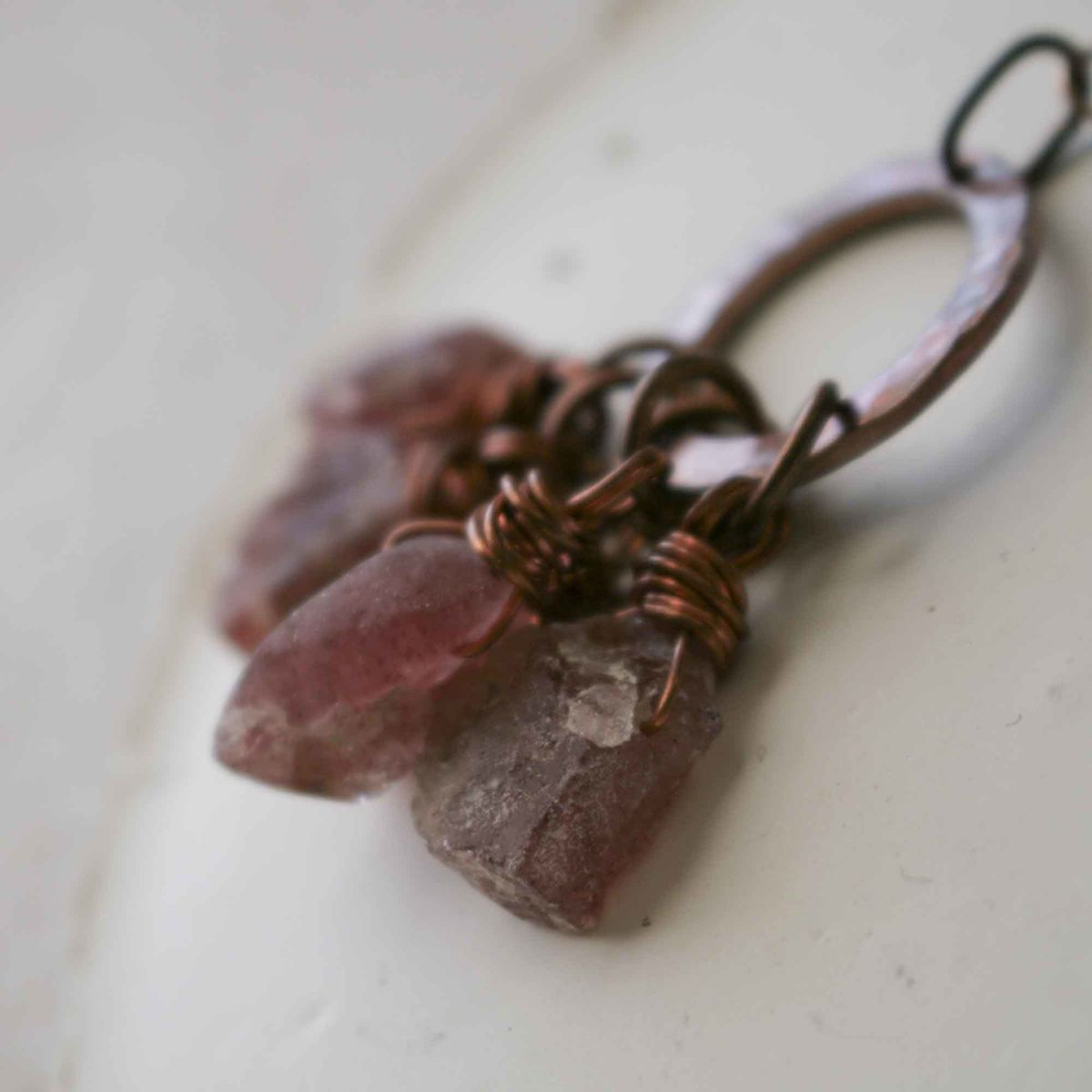Strawberry Quartz Crystal Charm Necklace - product images  of