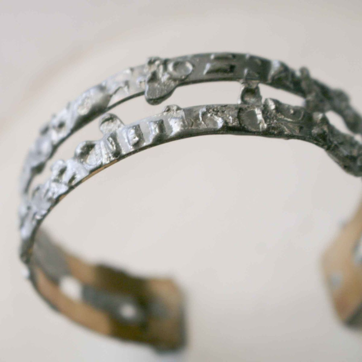Rustic Texture Brass Cuff Bracelet with Stamped Pewter Solder - product image