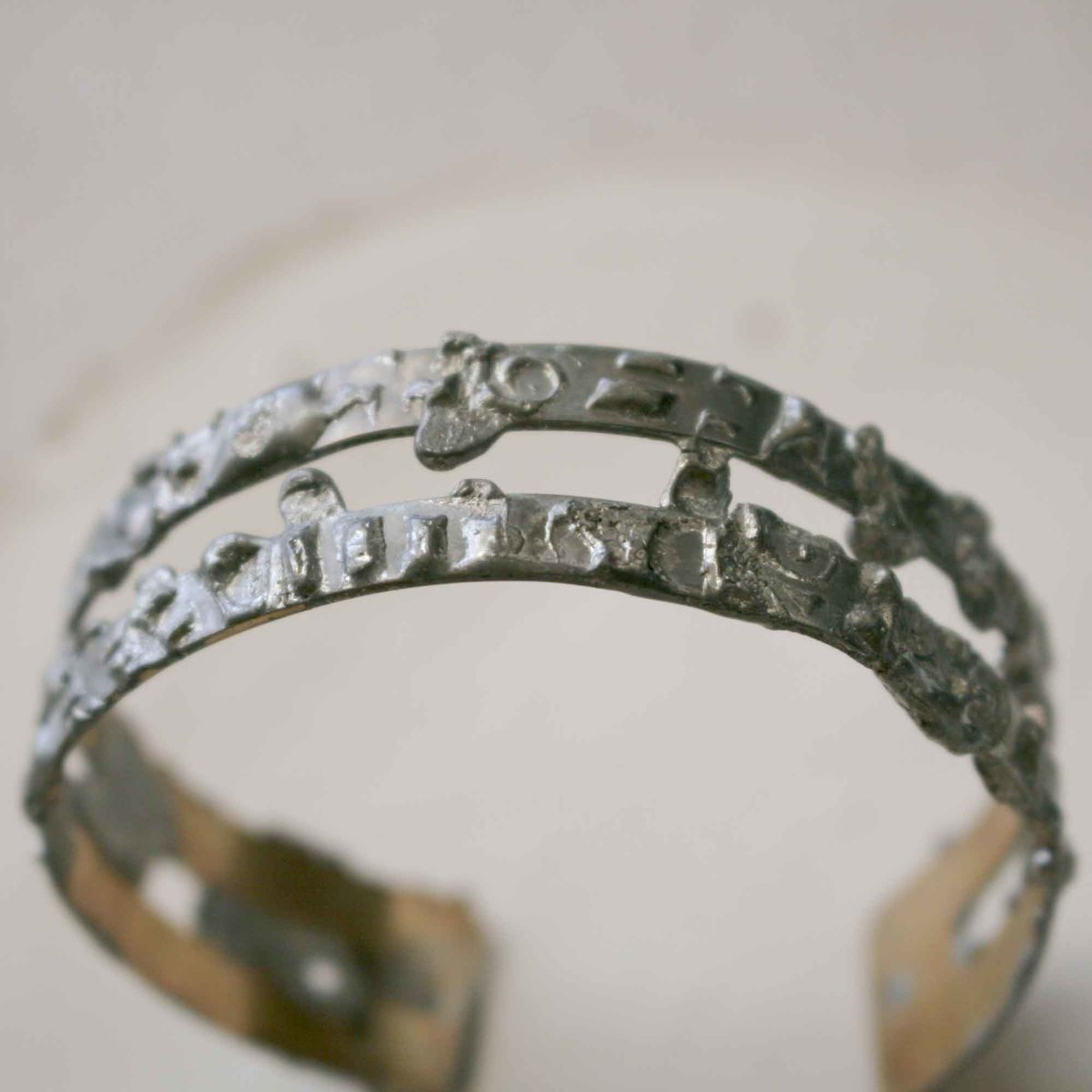 Rustic Texture Brass Cuff Bracelet with Stamped Pewter Solder - product images  of
