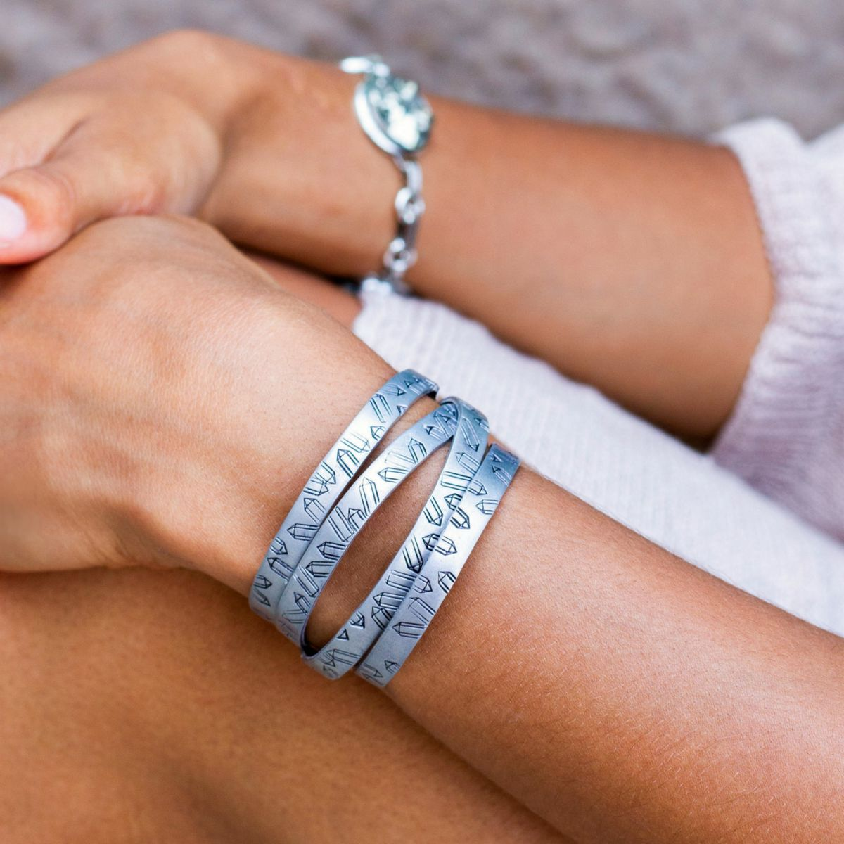 Handstamped Aluminum Crystal Point Cuff Bracelet Stack - product image