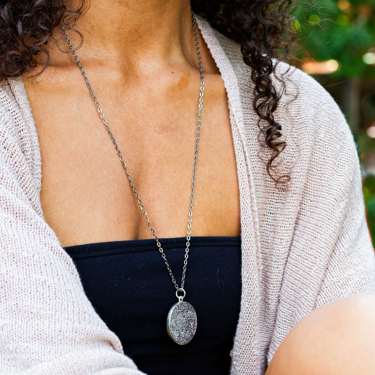 Large Fine Crushed Pyrite Crystal Necklace with German Glass Glitter - product images  of