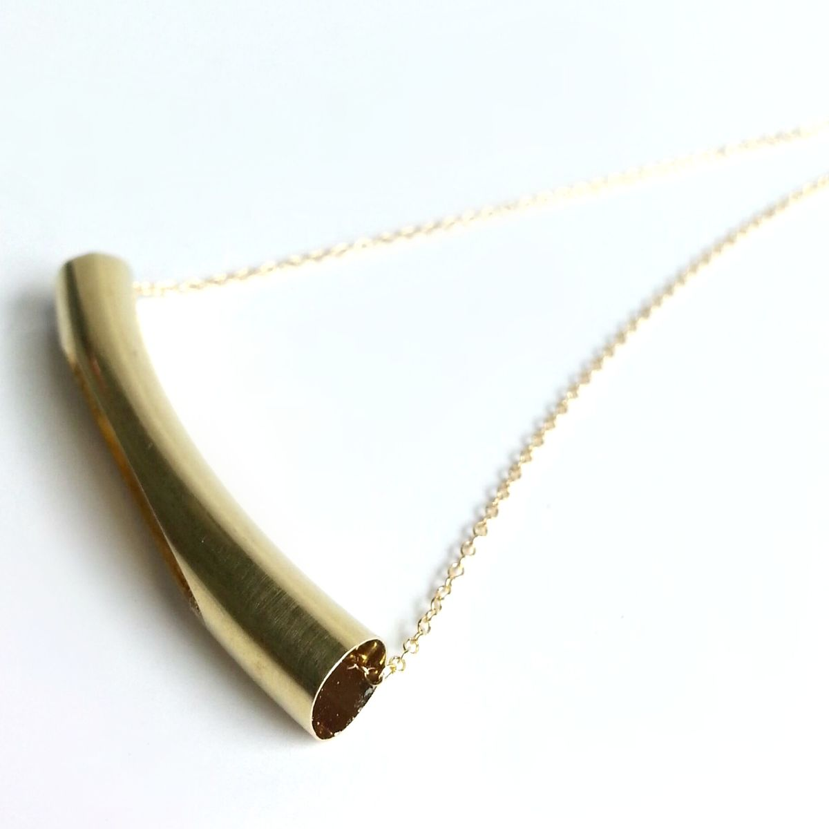 Split Brass Curved Tube Bar Necklace - product images  of