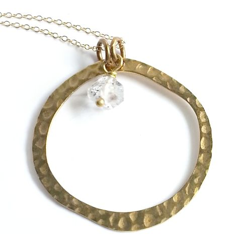 Open,Circle,with,Herkimer,Crystal,Stone,Pendant,Necklace,costume designer, costume department, stylist, square, modern, minimalist, geometric necklace, layering necklace, dainty necklace, square jewelry, brass necklace, tiny gold necklace, pendant, square necklace