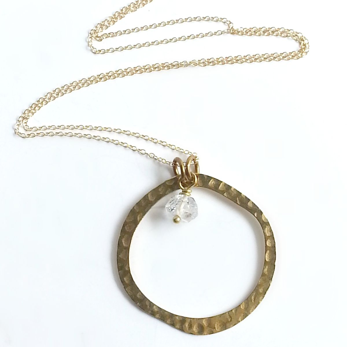 Open Circle with Herkimer Stone Necklace - product images  of