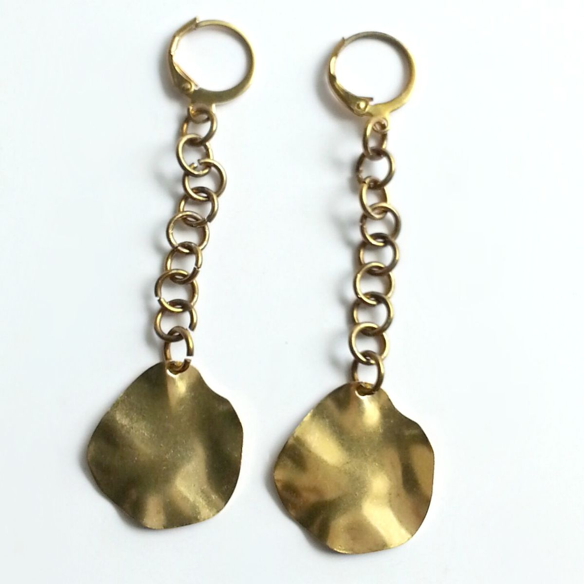 Wavy Disk Dangle Earrings - product images  of