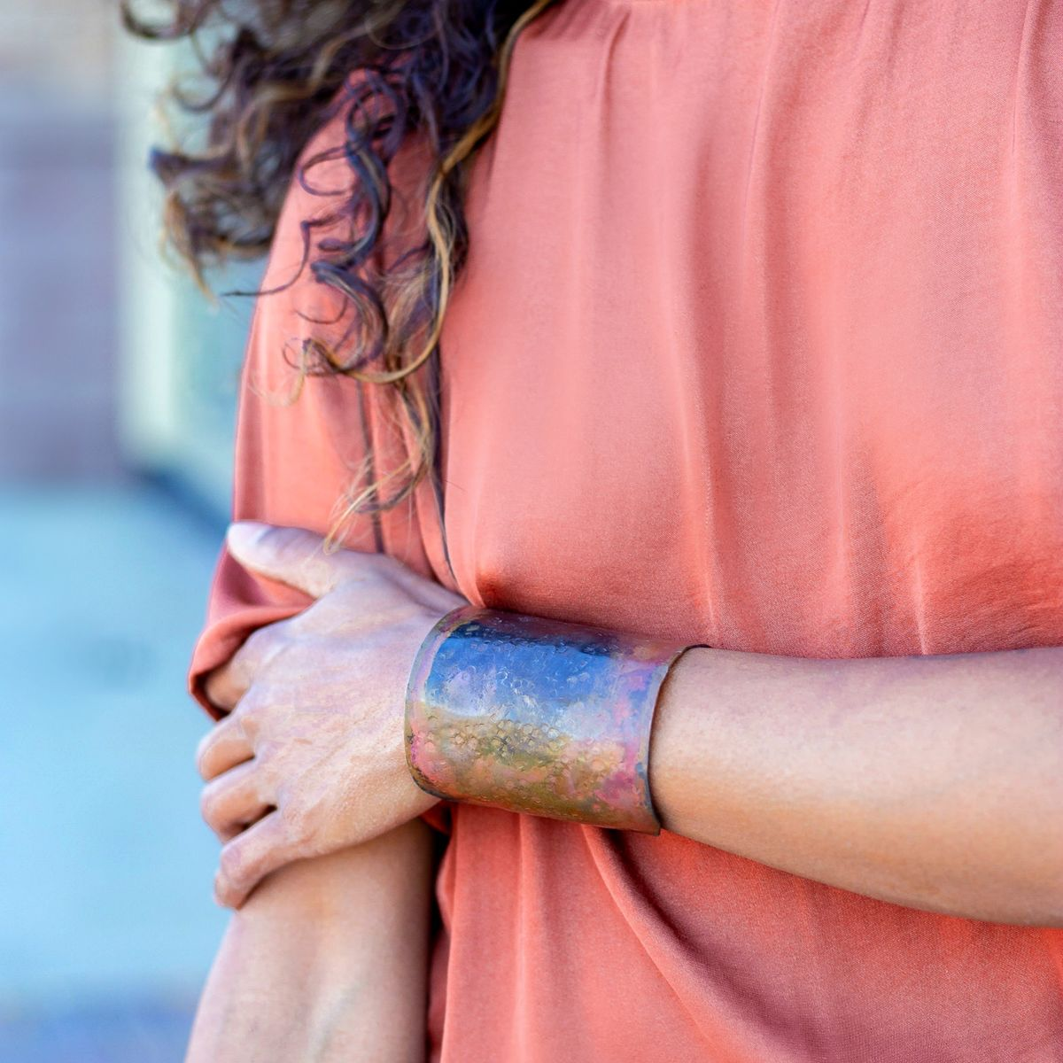 Patina Textured Cuff Bracelet - product images  of