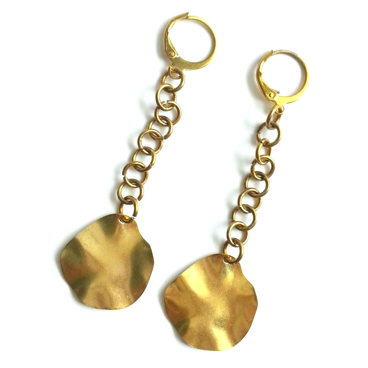 Wavy Disk Dangle Earrings - product image