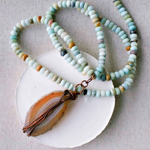 Agate,Slice,on,Amazonite,Beaded,Cord,healing crystal, crystal jewelry, citrine jewelry, yellow crystal, boho festival jewlery, copper jewelry, copper electroformed jewelry, boho jewelry