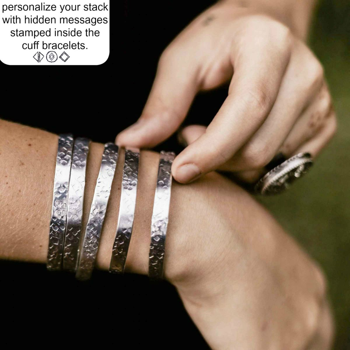 Hidden Message Stamped Stacking Cuff Bracelets - product image
