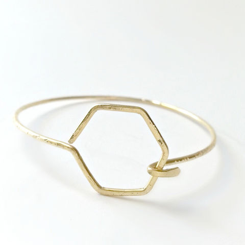Thin,Hexagon,Latch,Brass,Cuff,Bracelet,stacking bracelets, thin bracelets, women's jewelry