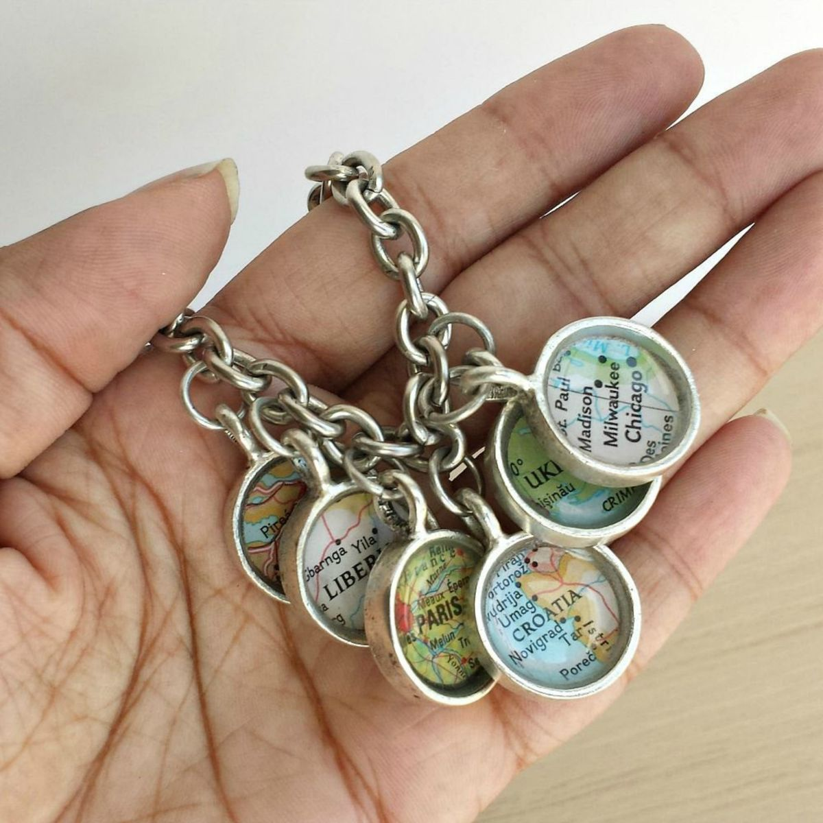 Custom Map Charm Bracelet You Pick Your Favorite Travel Destinations  - product image