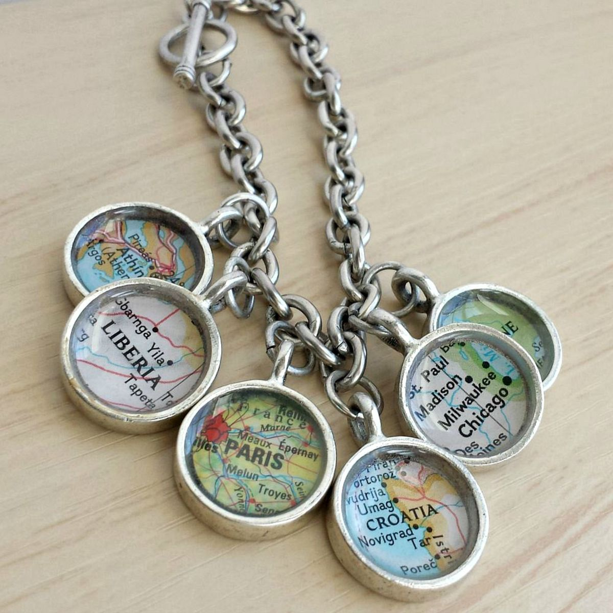 Custom Map Charm Bracelet You Pick Your Favorite Travel Destinations  - product images  of