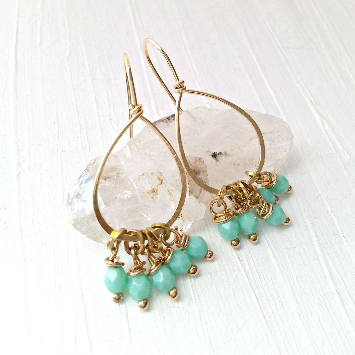 Yellow Brass Loop and Light Pale Teal Dangle Beaded Earrings - product image