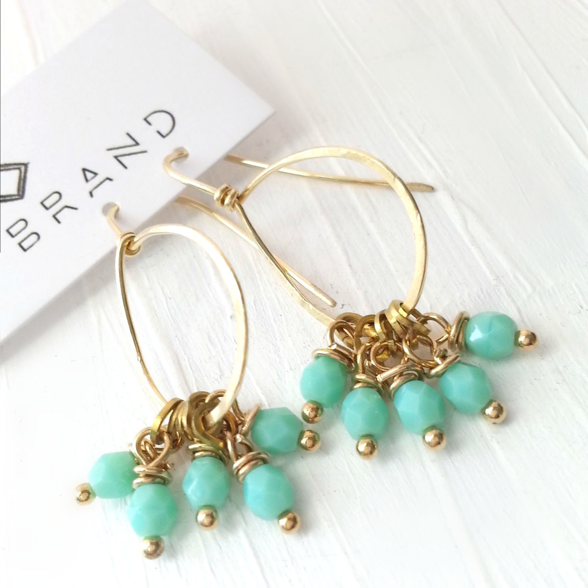 Yellow Brass Loop and Light Pale Teal Dangle Beaded Earrings - product images  of