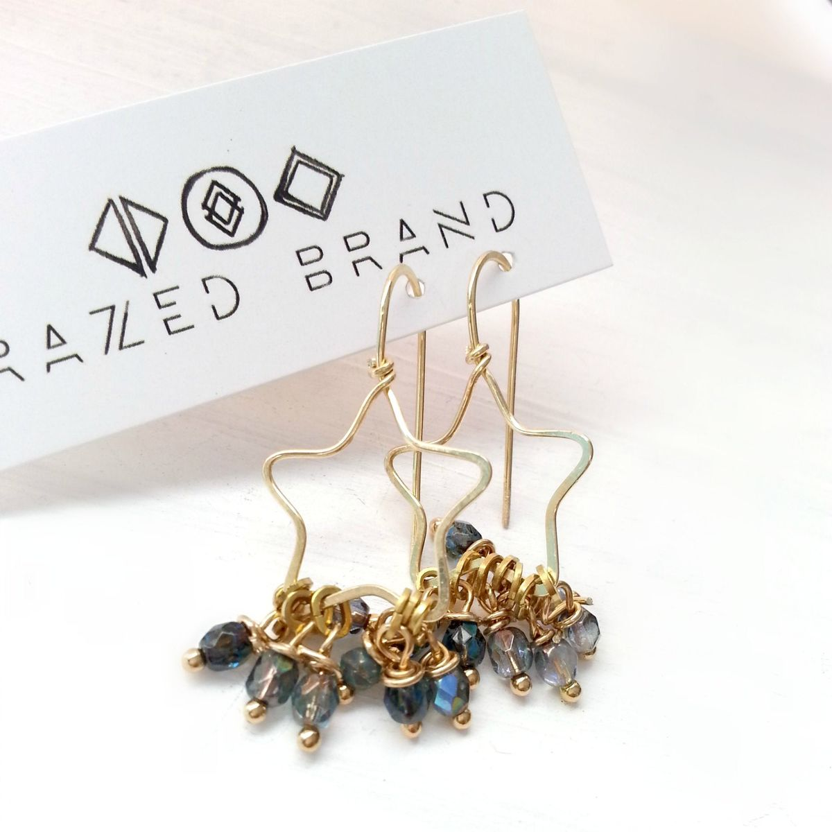 Yellow Brass Star and Blue Dangle Beaded Earrings - product images  of
