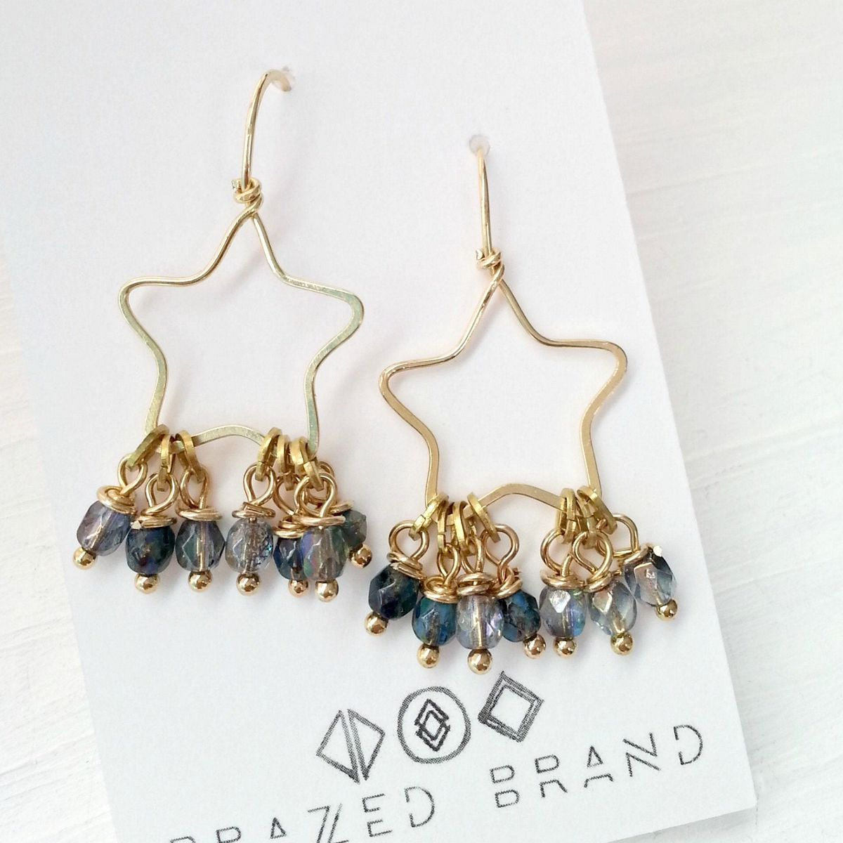 Yellow Brass Star and Blue Dangle Beaded Earrings - product image