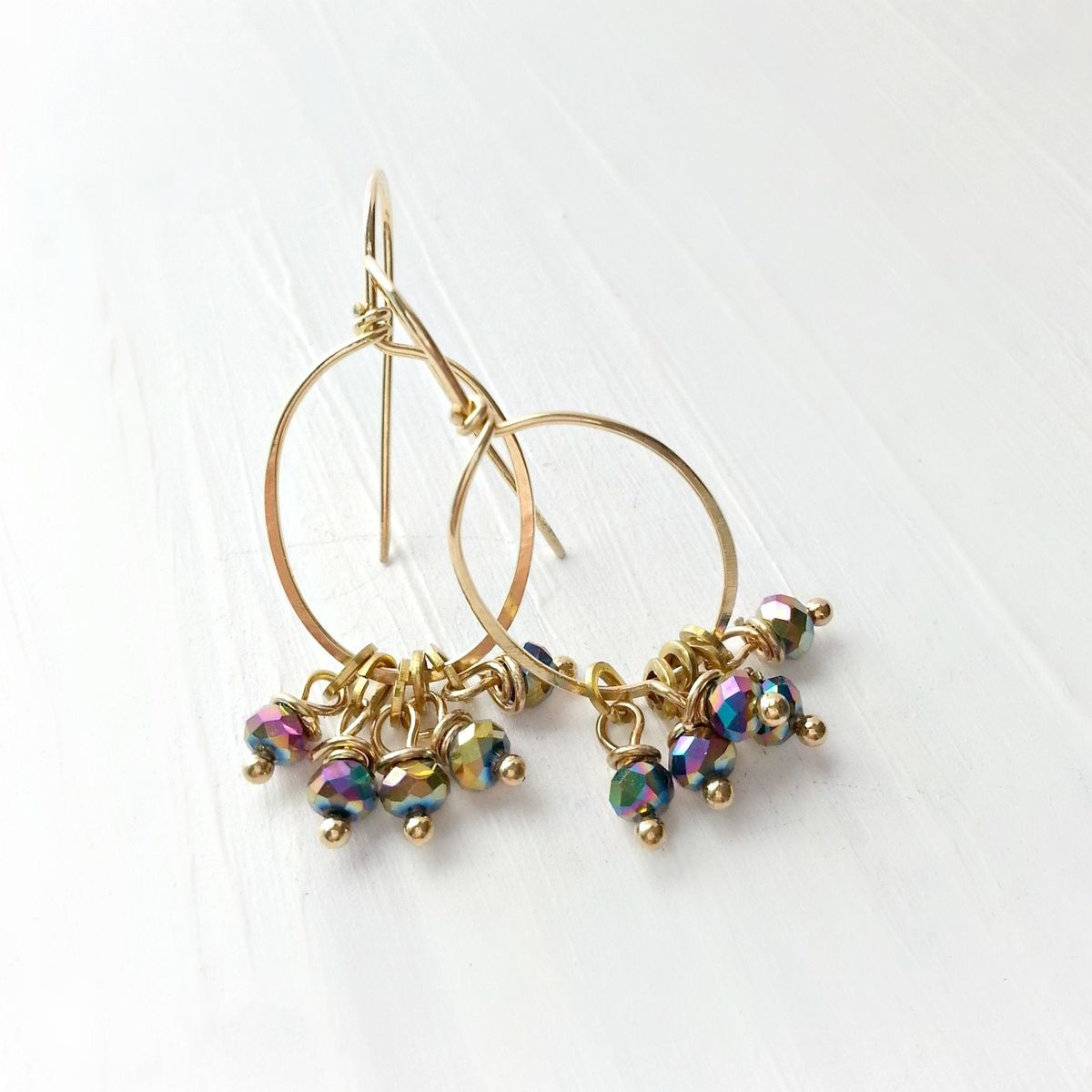 Yellow Brass Oval and Multicolor Dangle Beaded Earrings - product images  of
