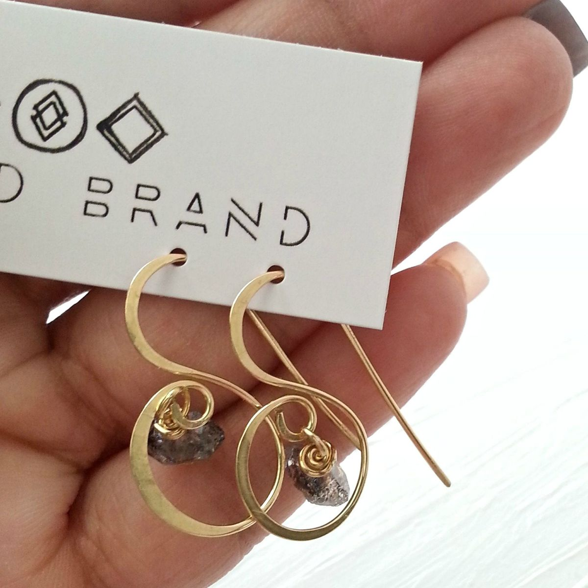 Fancy Brass and Quartz Stone Earrings - product images  of