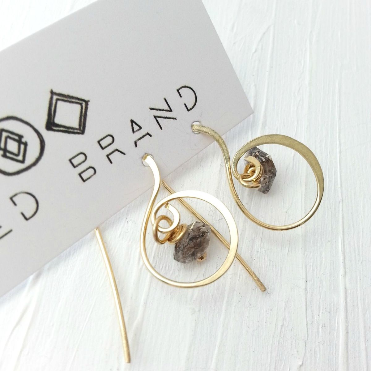 Fancy Brass and Quartz Stone Earrings - product image