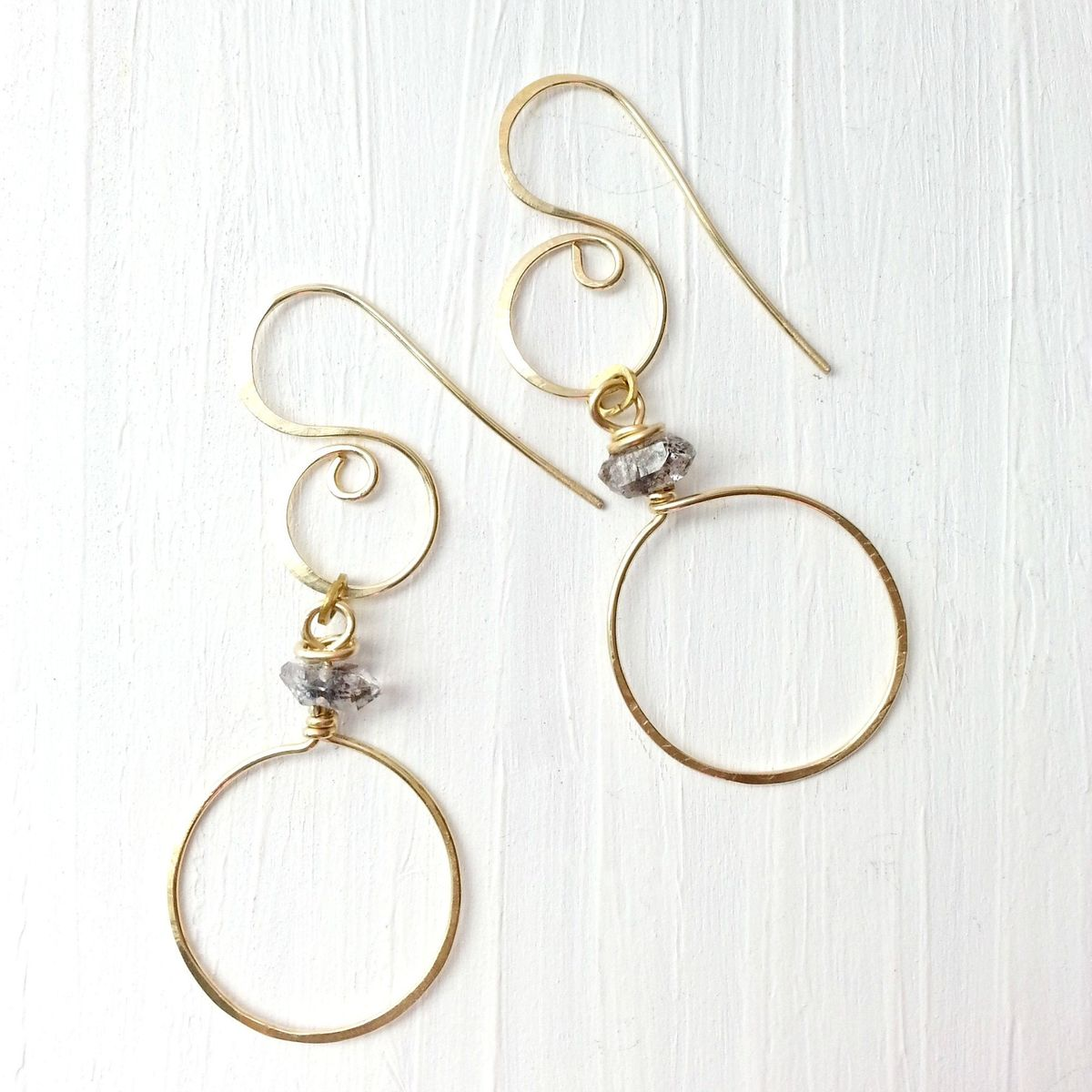 Long Fancy Brass and Quartz Stone Earrings - product image