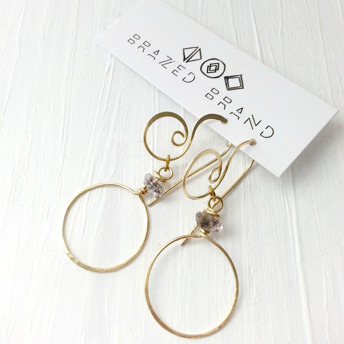 Long Fancy Brass and Quartz Stone Earrings - product images  of