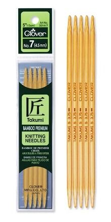 Takumi,Bamboo,Knitting,Needles,Double,Pointed,(5,INCH),5,pack,takumi bamboo knitting needles,double pointed knitting needles,clover, needlecraft