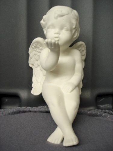 Blowing Kisses Cherub Shelf Sitter Ready to Paint Ceramic Bisque - product images