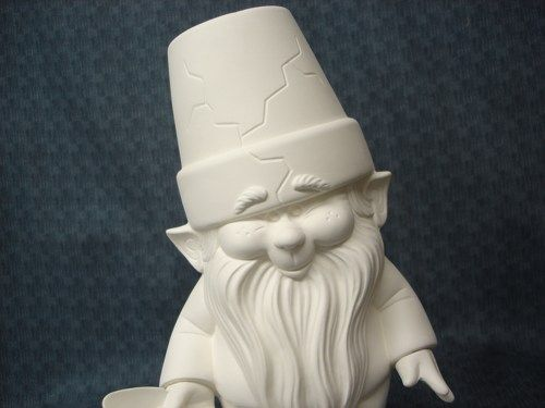 Ready to Paint Ceramic Bisque Dona Mold Garden Cracked Pot Gnome - product image