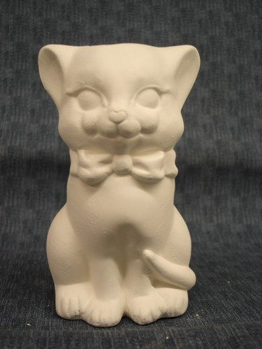 Kitty Cat Soap Dispenser Ready to Paint Ceramic Bisque - product images
