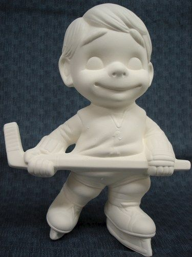 Ceramic Hockey Player Smiley Ready to Paint Bisque - product images