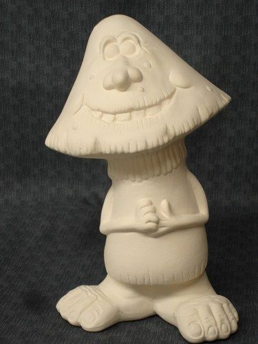 Scuttle Dwadle Mushroom Ceramic Bisque Ready to Paint - product image