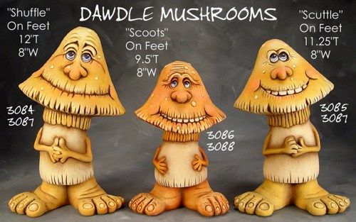 Shuffle Dwadle Mushroom Ceramic Bisque Ready to Paint Garden Decor - product image