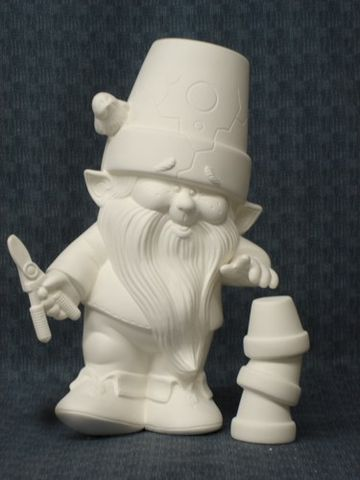 Dona,Molds,Ceramic,Bisque,Ready,to,Paint,Gnome,with,Shears,and,Garden,Accessories,ceramic bisque,ready to paint,ceramics, bisque,kg krafts,garden decor,gnomes,cracked pot gnomes,dona molds