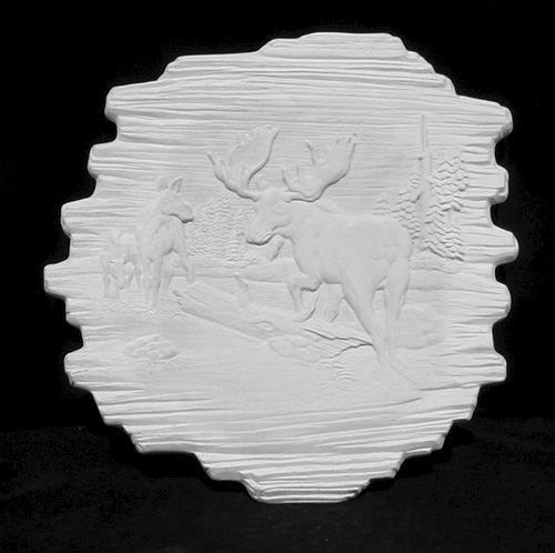 Moose Wildlife Plaque Ready to Paint Ceramic Bisque - product images