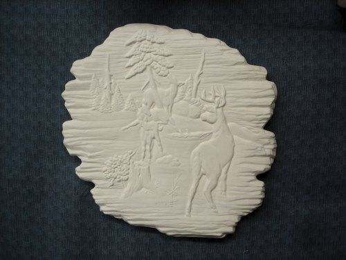 Deer Wildlife on Woodlook Ceramic Plaque Ready to Paint Bisque - product images