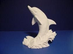 Large Dolphin on Wave 7 inch Tall Unpainted Ceramic Bisque - product images