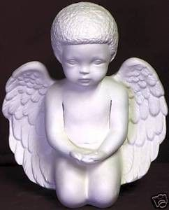 African-American Cherub with Hands Open or Praying Unpainted Bisque - product image