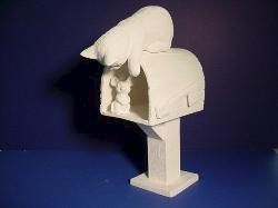 Mailbox with Mouse and Curious Cat Unpainted Ceramic Bisque - product images