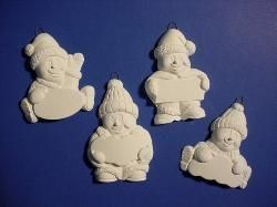 Snowmen Ornaments 4 Pcs. 3 Tall Unpainted Ceramic Bisque - product images