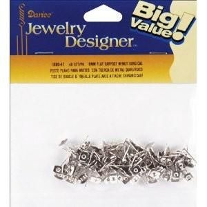 Flat,Pad,Earring,Post,Butterfly,Clutch,6mm,48Pkg-Surgical,Steel,darice, earring back, earring, jewelry supplies, components,kg krafts