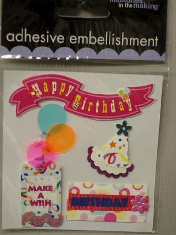 Happy,Birthday,Stickers,From,Memories,in,the,Making,fabric,glue,metal,ribbon,paper,stickers, Happy Birthday, memories in the making, cards, embellishment, scrapbooking