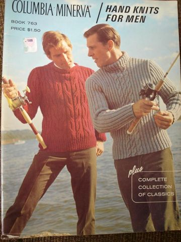 Columbia,Minerva,Hand,Knits,for,Men,Book,763,Columbia Minerva, Hand, Knits, Men, Book 763, Classic, Knit, designs, mens, sweaters, vests, cardigan all done in cables, intrasia,