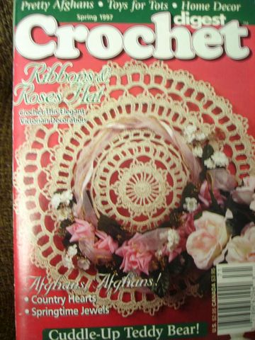 Crochet,Digest,Spring,1997,Ribbon,and,Roses,crochet digest, pattern, tablecloth, thread crochet, magazine