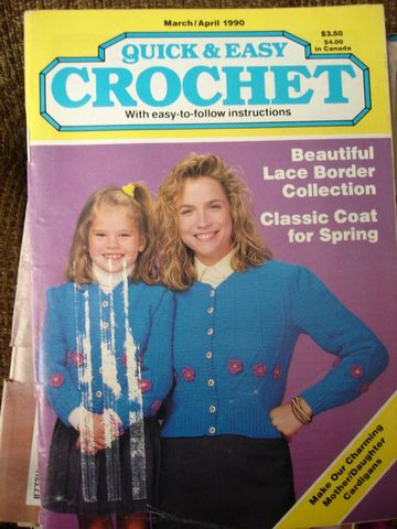 Quick,and,Easy,Crochet,March,April,1990,quick and easy crochet, instructions, shawls, afghans, sweaters, doilies