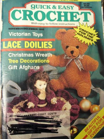 Quick,and,Easy,Crochet,November,December,1992,quick and easy crochet, instructions, shawls, borders, afghans, knit, crochet