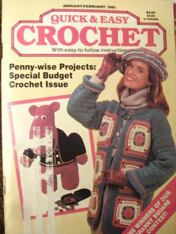 Quick,and,Easy,Crochet,January,February,1991,quick and easy crochet, instructions, shawls, borders, afghans, knit, crochet