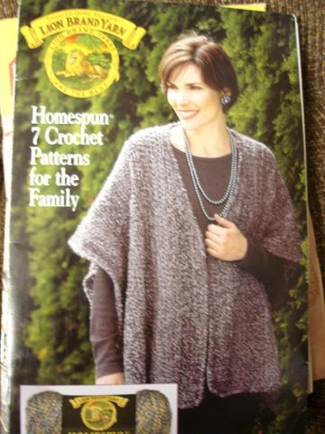 Homespun,Crochet,Patterns,for,the,Family,Lion,Brand,Yarns, Crochet, Patterns, Family, Lion Brand Yarns, sweater, shawls