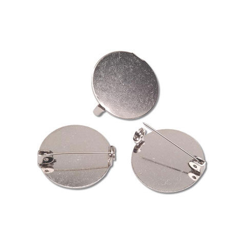 Round Pin Backs - Nickel - 26mm - Big Value - product images