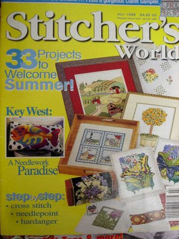 Stitcher's,World,Cross,Stitch,Magazine,July1999,Stitcher's World Cross Stitch Magazine, July1999,counted cross stitch, charts,patterns, kg krafts, needlework,stitchery, crafts,craft supplies