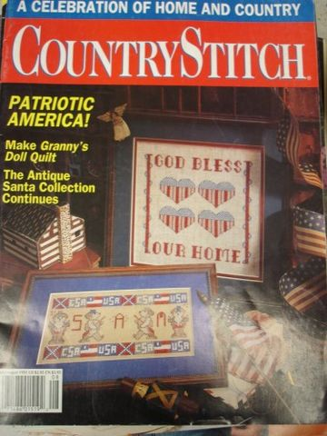 Country,Stitch,issue,July/August,1991,cross stitch,patriotic,july/aug 1991,coutry cross stitch,